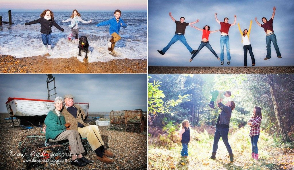 Childrens and family portraits by Tony Pick Phototography. It's a great time to create some family portrait memories at the seaside in Aldeburgh, Suffolk. Choose from Fun on the Beach Portraits, Go Wild in the Forest Portraits or Paddle along the River Portraits.