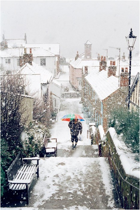 Aldeburgh town steps in the snow
