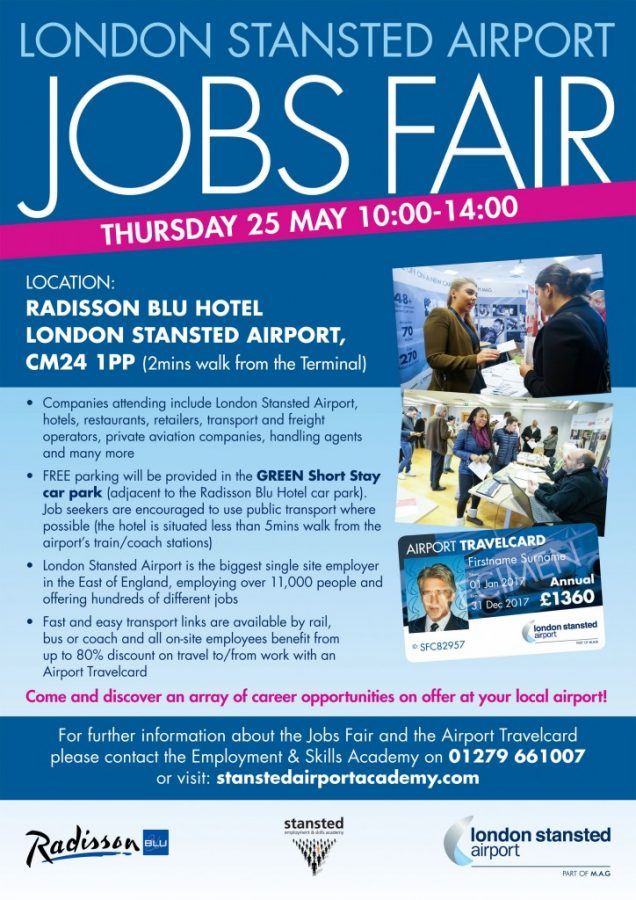 Stansted airport photographer Tony Pick will be photographing the Stansted Airport jobs fair at the Radisson Blu hotel on 25th May 2017